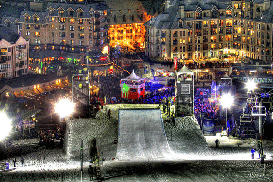 World Ski & Snowboard Festival at Night