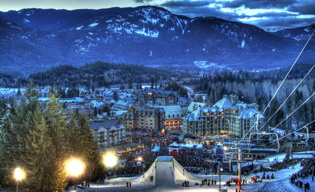 The Whistler Blackcomb Ski Resort at Night